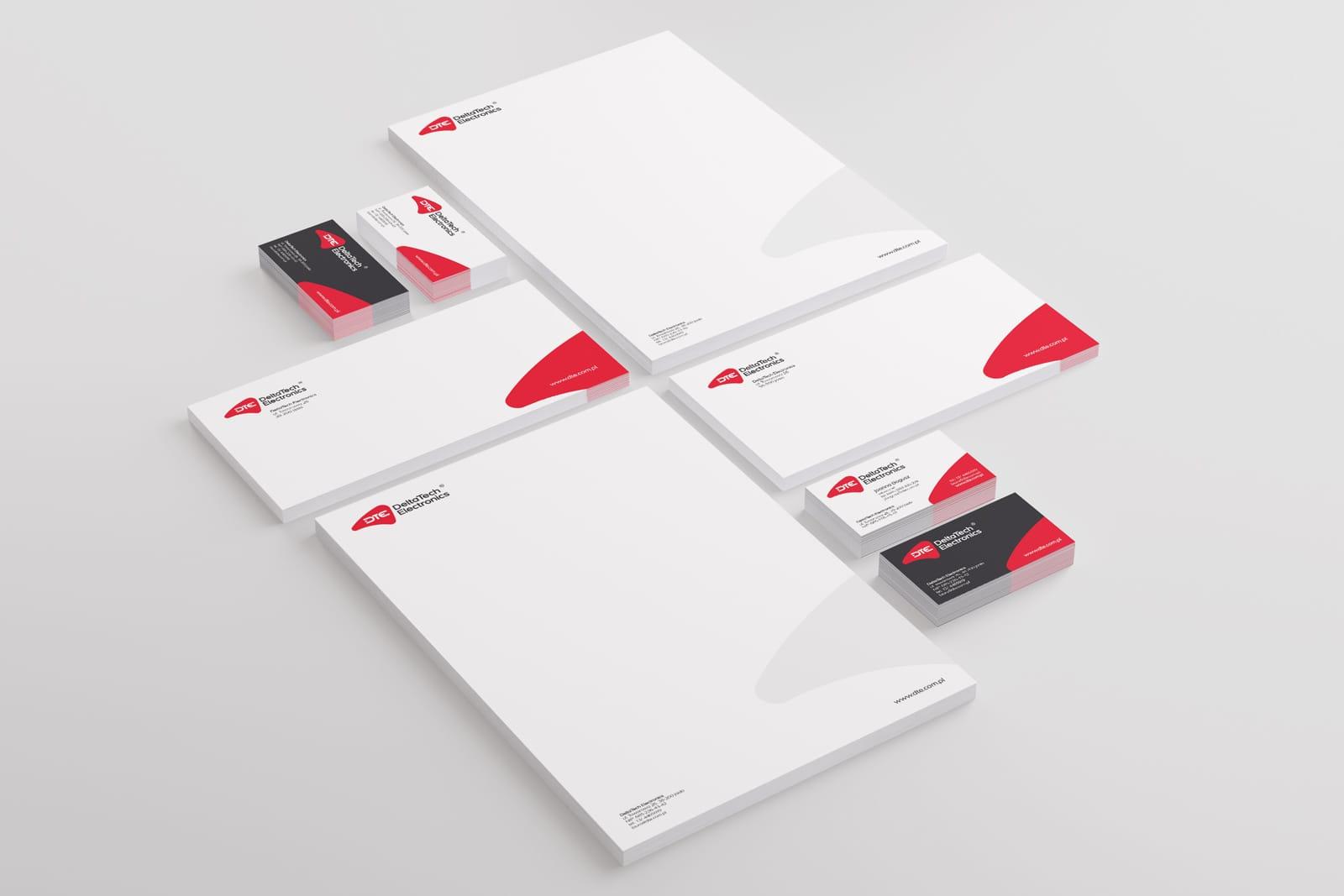 DeltaTech Electronics identyfikacja wizualna projekt rewitalizacja logo firmy identyfikacji wizualnej akcydensy firmowe Agencja brandingowa Moweli Creative