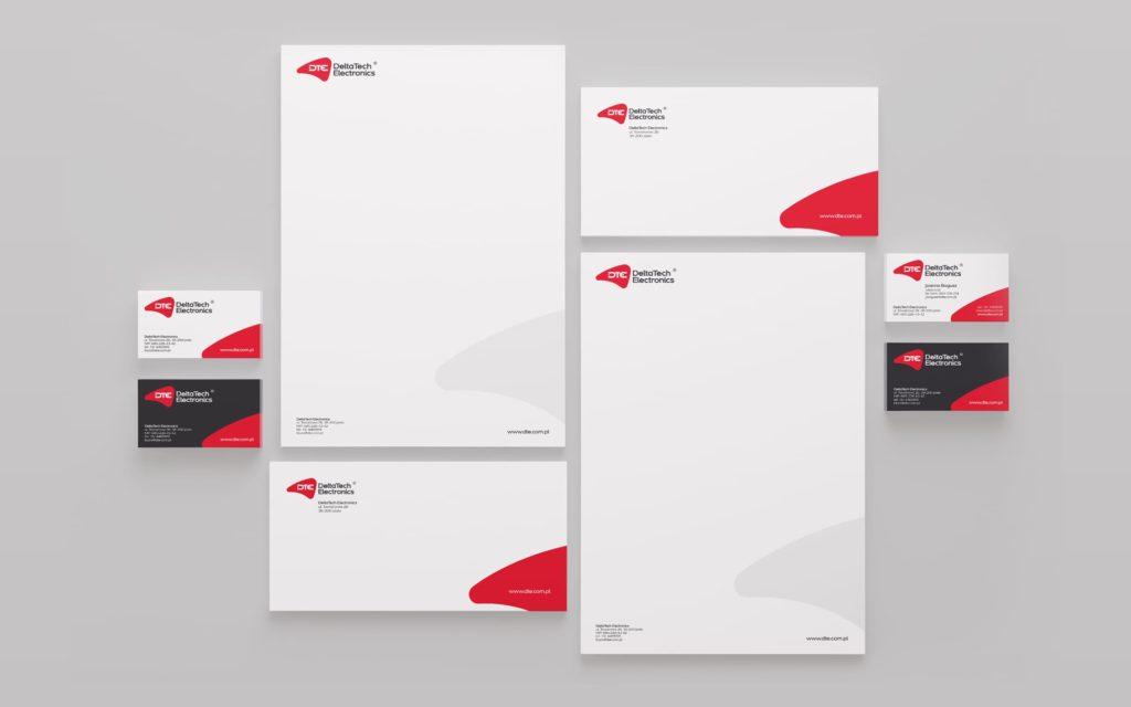 DeltaTech Electronics identyfikacja wizualna projektowanie logo firmy identyfikacji wizualnej akcydensy firmowe Agencja brandingowa Moweli Creative