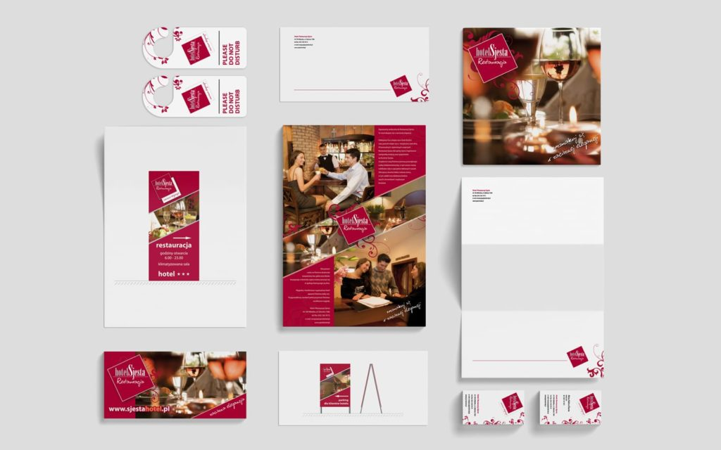 Hotel Restauracja Sjesta system identyfikacji wizualnej branding identyfikacje wizualne Agencja brandingowa Moweli Creative