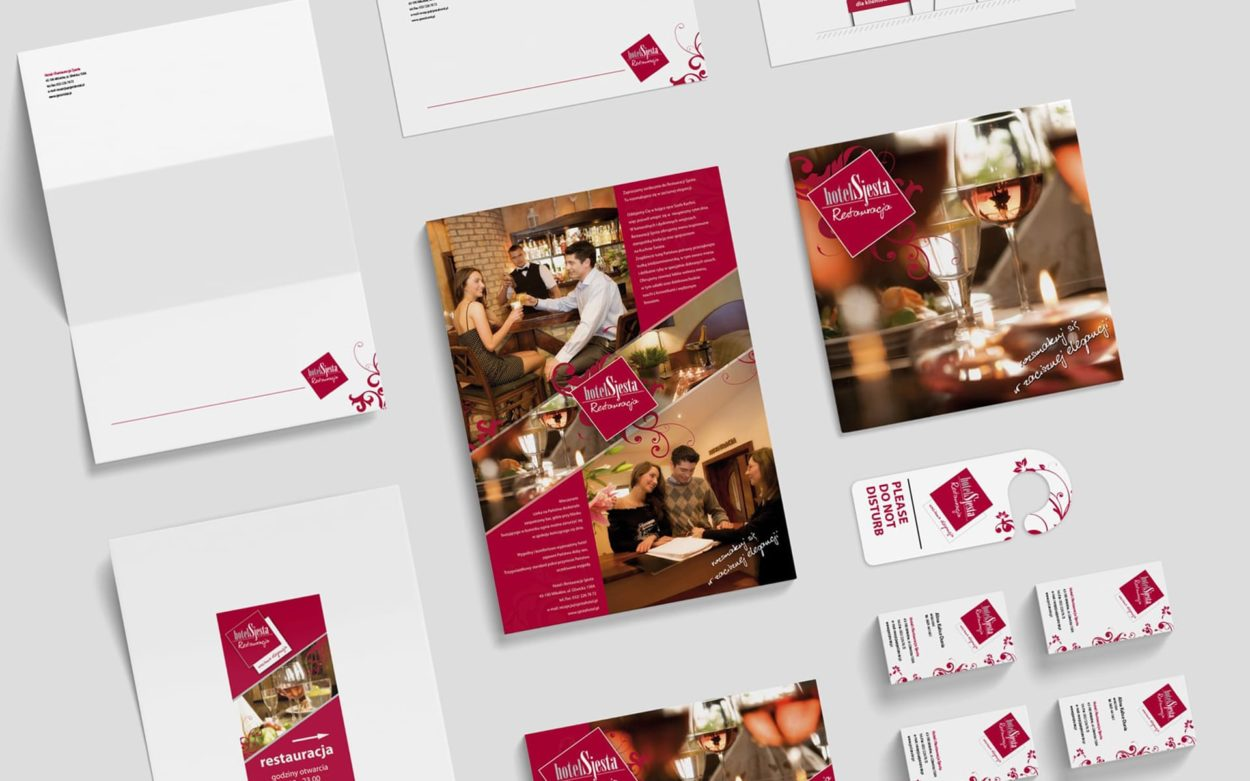 Hotel Restauracja Sjesta branding identyfikacje wizualne Agencja brandingowa Moweli Creative