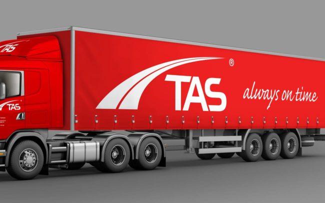 TAS Transport Spedycja identyfikacja wizualna Auto firmowe wizualizacja Scania Agencja brandingowa Moweli Creative