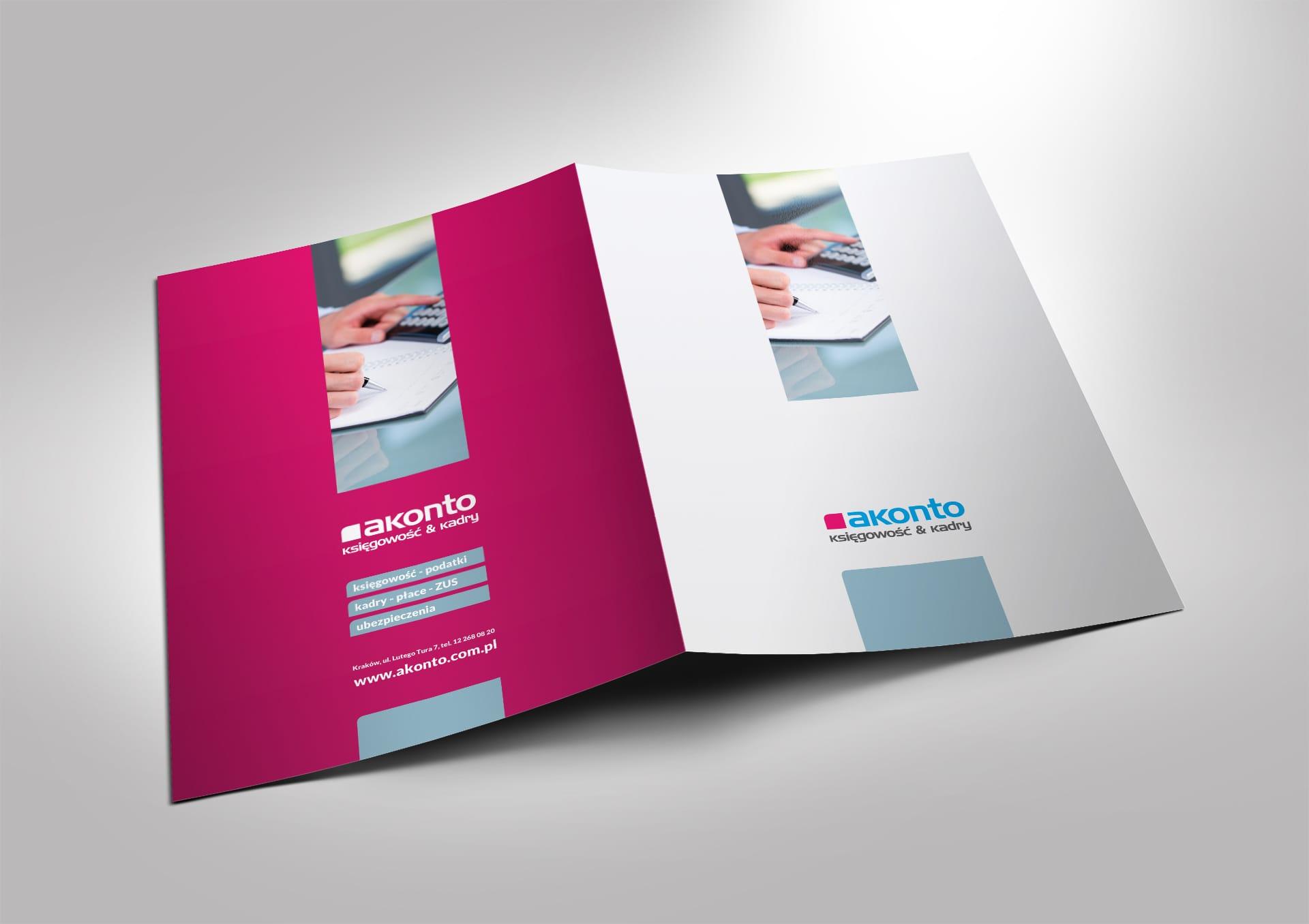 Akonto zestaw brandingowy, rebranding logo firmowego, akcydensy, teczki reklamowe, reklamy zewnętrzne