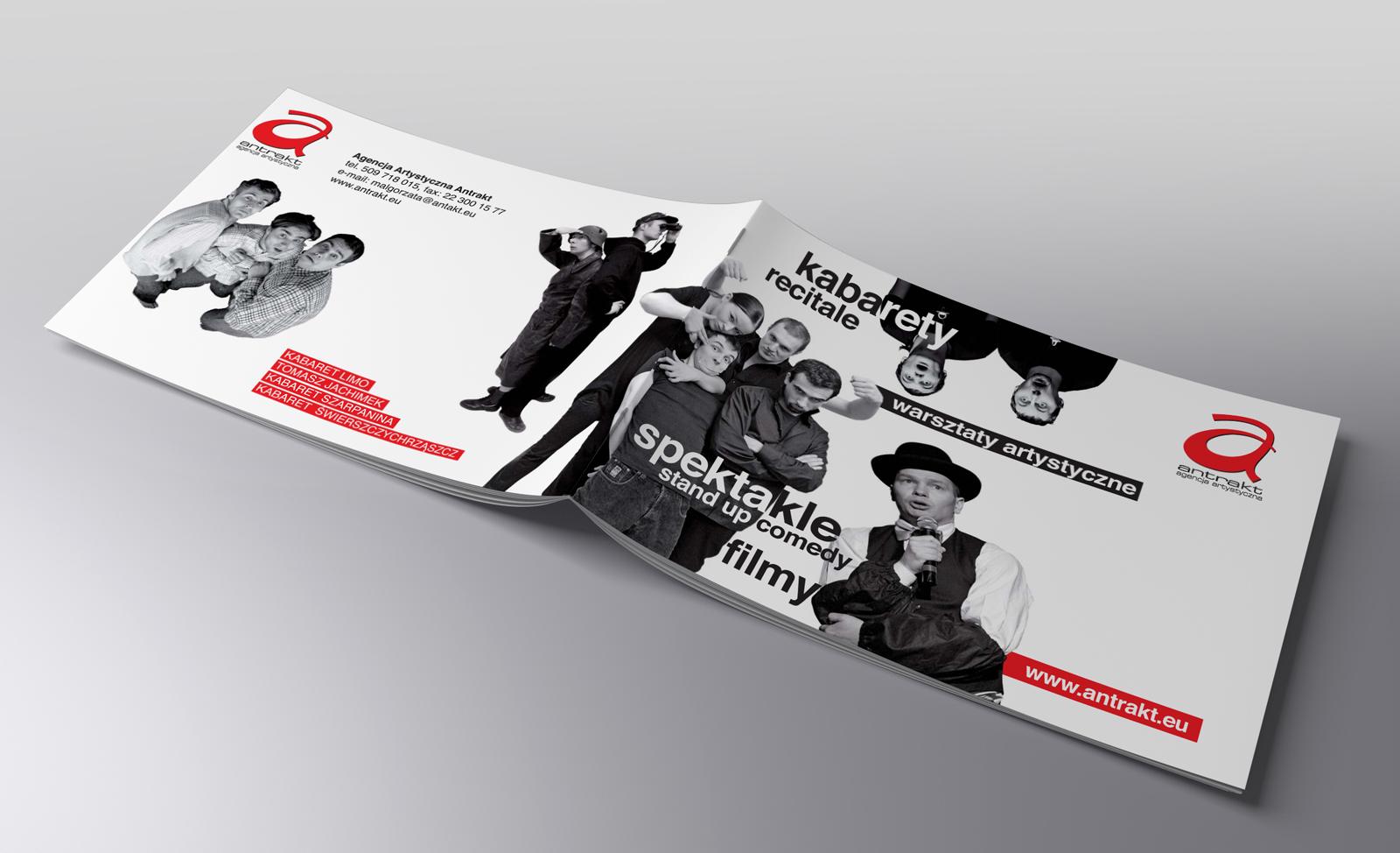 Antrakt katalogi reklamowe 12 str., plakaty informacyjne B1
