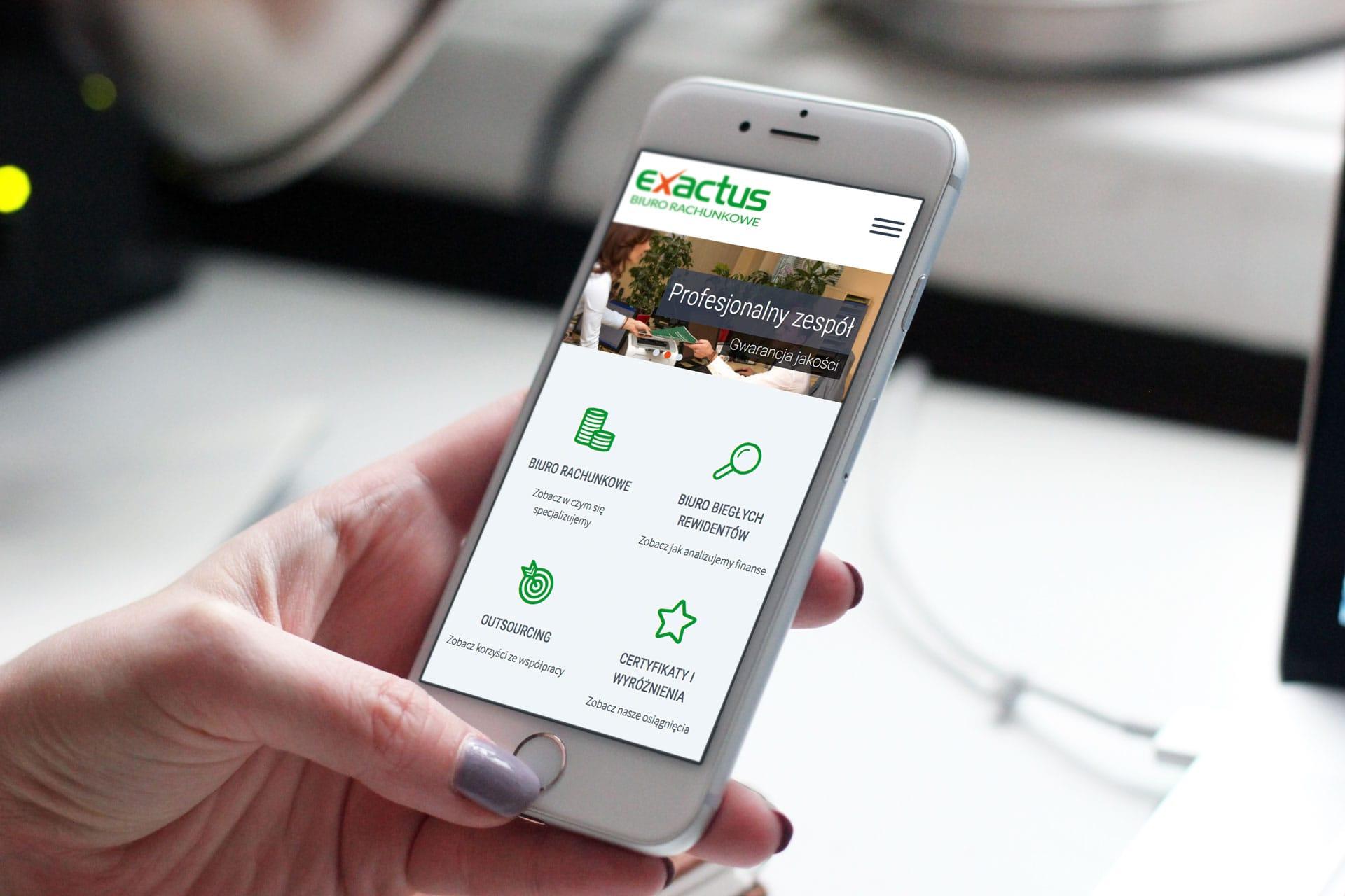 Exactus logo firmowe, strona internetowa