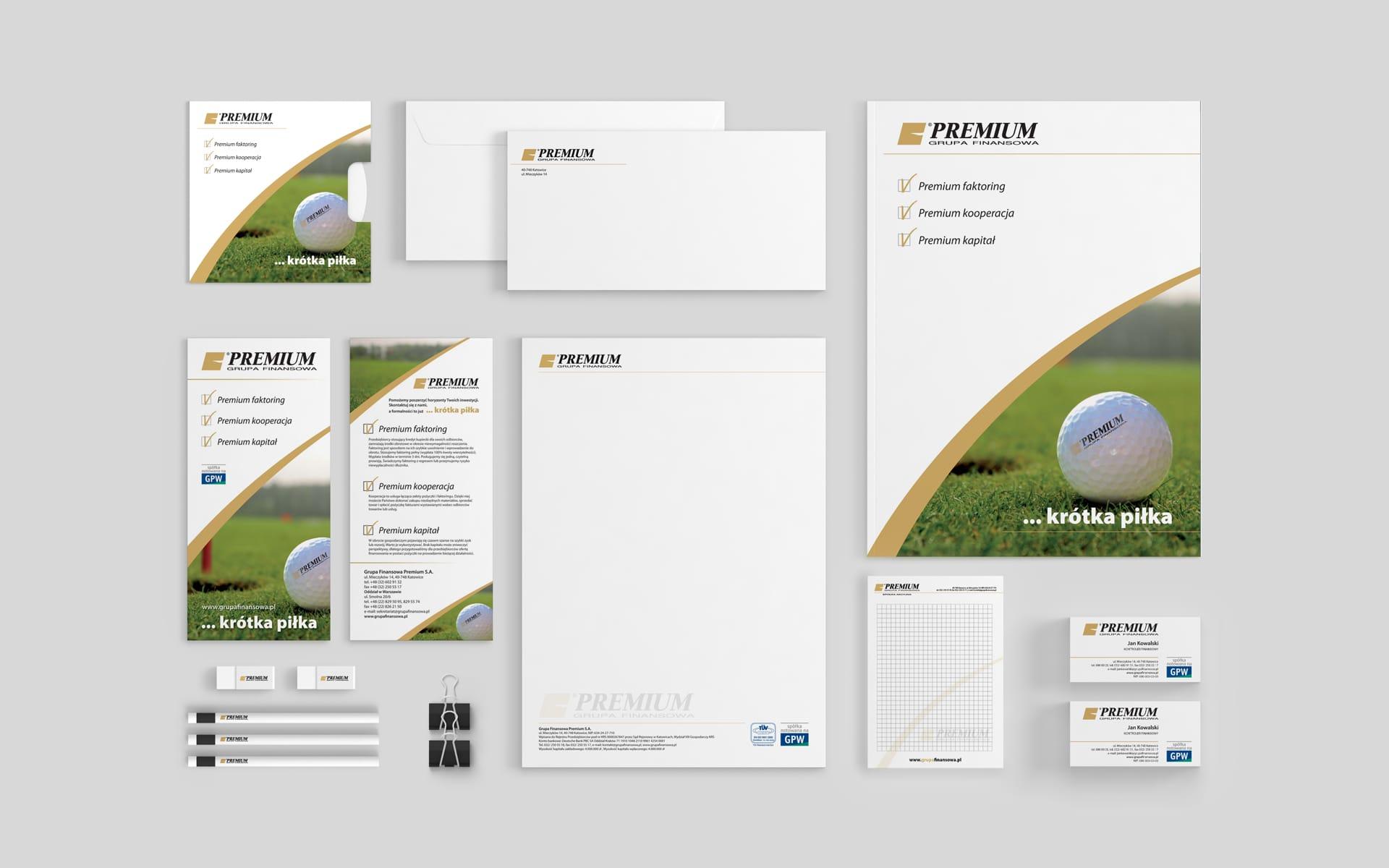 Grupa Finansowa Premium S.A. zestaw brandingowy, system identyfikacji wizualnej, teczki reklamowe, akcydensy firmowe, ulotki informacyjne, flagi, oznakowania samochodów firmowych, reklamy zewnętrzne, opracowanie stoiska targowego