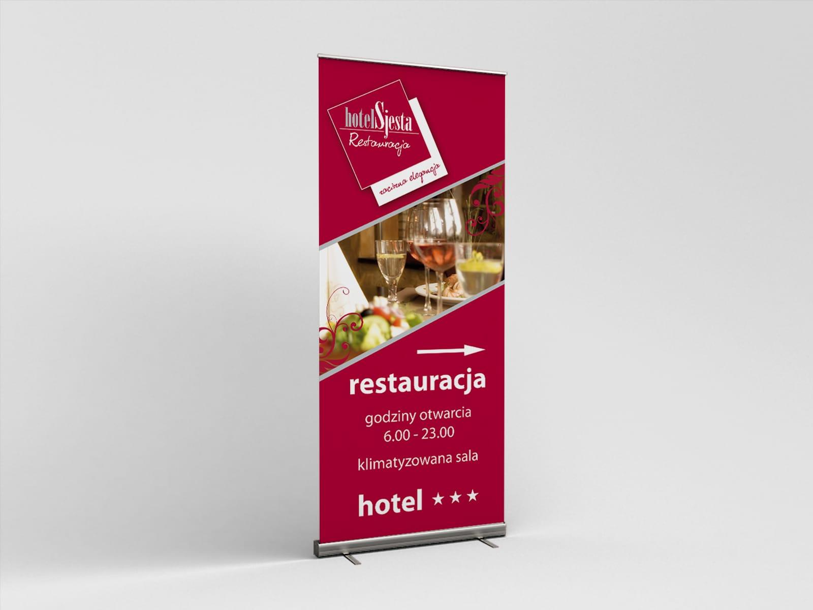 Hotel Restauracja Sjesta Mikołów identyfikacja wizualna, branding, logo firmowe, billboard, reklama prasowa, logo firmowe, ulotki reklamowe, strona internetowa, księga znaku, Agencja brandingowa Moweli Creative