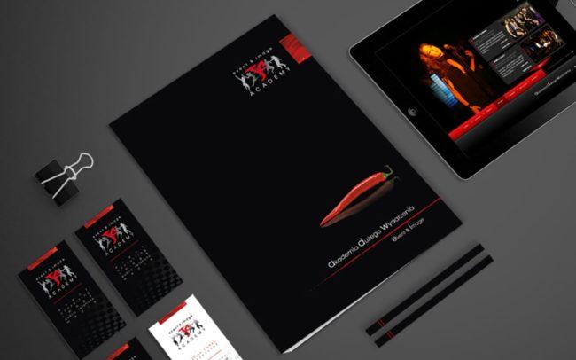 JC Academy zestaw brandingowy, akcydensy firmowe, teczki reklamowe, materiały targowe, strona internetowa