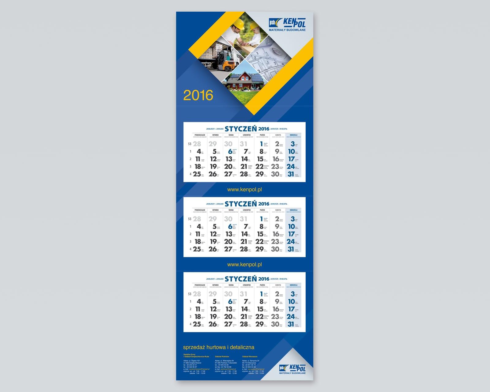 Kenpol kalendarz trojdzielny 2016 Agencja brandingowa Moweli Creative