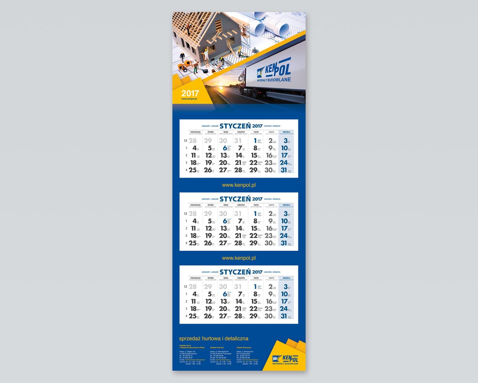Kenpol kalendarz trojdzielny 2017 Agencja brandingowa Moweli Creative