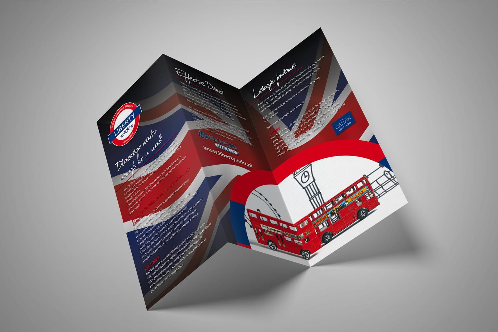Liberty zestaw brandingowy, rebranding logo, broszury informacyjne, plakaty reklamowe, materiały targowe, reklamy zewnętrzne agencja brandingowa Moweli Creative