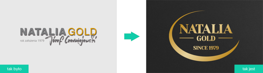 Natalia Gold rewitalizacja logo firmowego rebranding Agencja brandingowa Moweli Creative