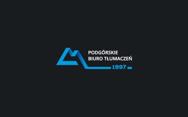 Podgorskie Biuro Tlumaczen logo firmowe projektowanie logo firmy znaków firmowych księgi znaku rewitalizacje rebranding logo Agencja brandingowa Moweli Creative