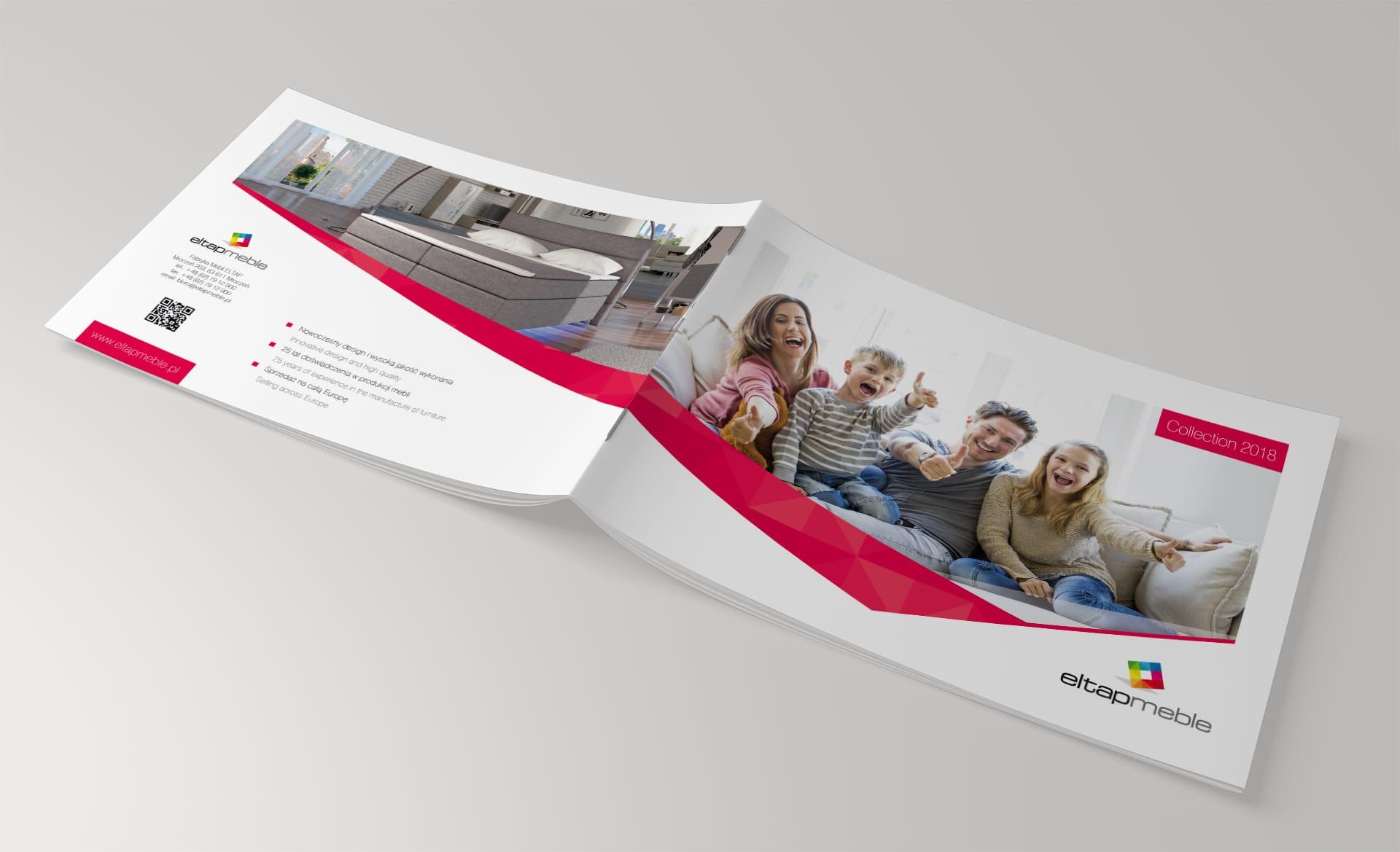 Projektowanie identyfikacji wizualnej katalogi reklamowe foldery produktowe dla firmy Eltap Meble Agencja brandingowa Moweli Creative Dąbrowa Górnicza Sosnowiec Katowice Warszawa Wrocław Kraków Gdańsk