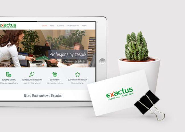 Projektowanie logo firmy Exactus Biuro Rachunkowe księgi znaku identyfikacje wizualne strony internetowe Agencja brandingowa Moweli Creative Dąbrowa Górnicza Katowice Kraków Wrocław Gdańsk Warszawa