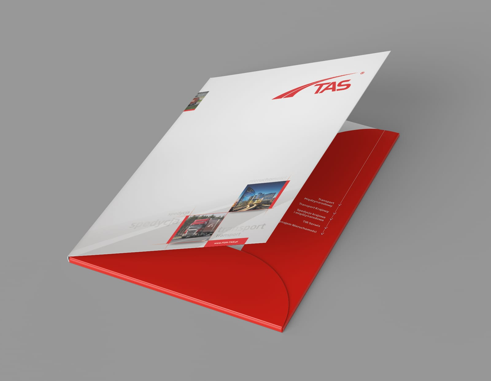 TAS Transport Spedycja reklamowe teczki firmowe Agencja-brandingowa Moweli Creative