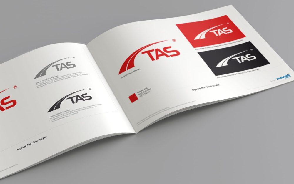 TAS identyfikacja wizualna księga znaku Agencja brandingowa Moweli Creative