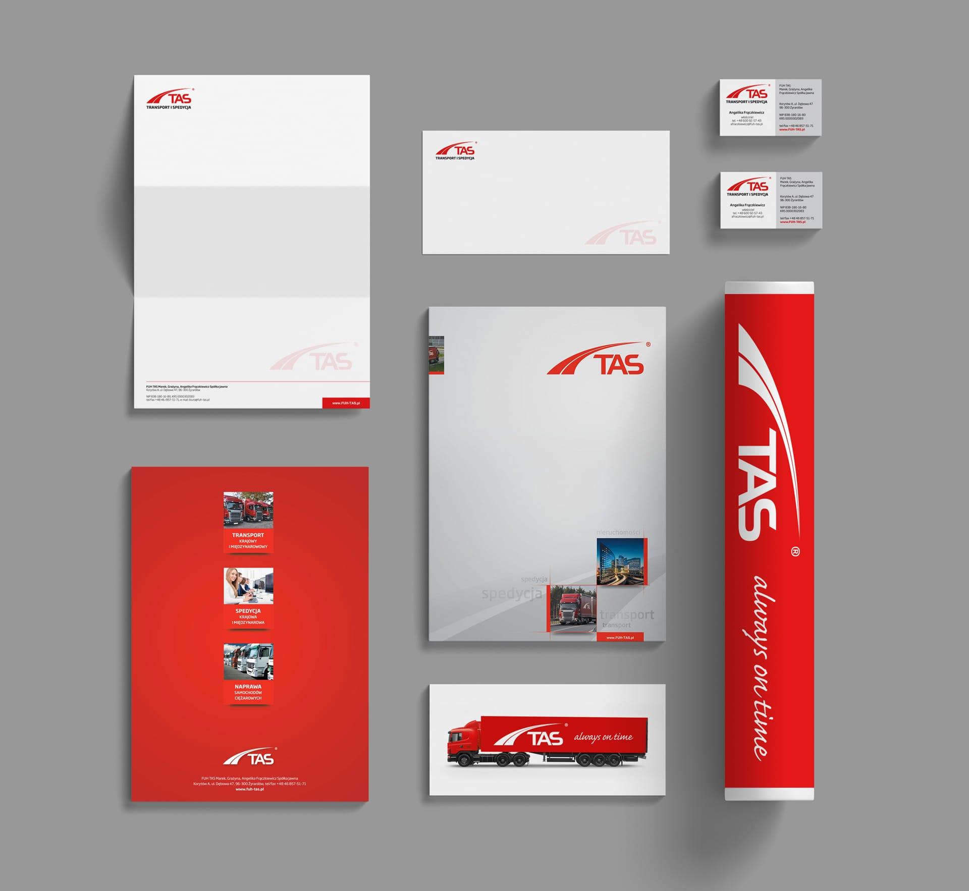 TAS Transport Spedycja identyfikacja wizualna Agencja brandingowa Moweli Creative
