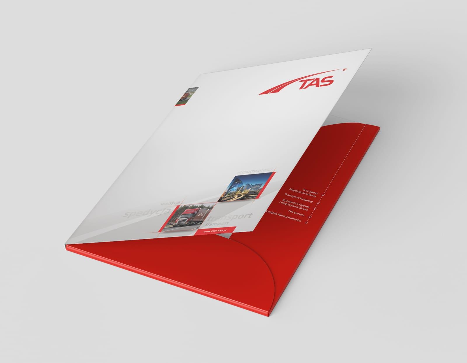TAS Spedycja zestaw brandingowy, rebranding logo firmowego, akcydensy, teczki reklamowe, strona internetowa