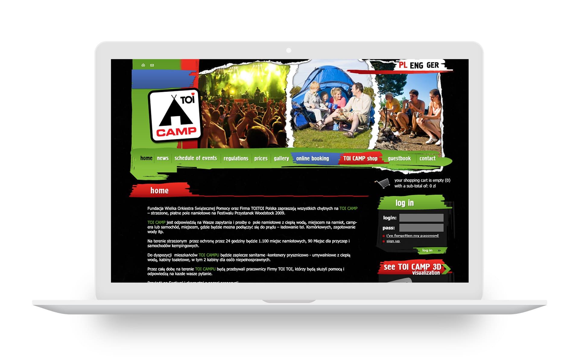 ToiCamp strona internetowa Agencja brandingowa Moweli Creative