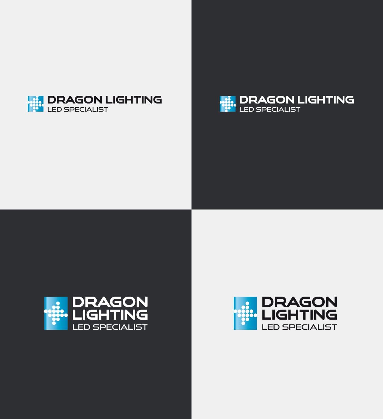 Dragon Lighting projektowanie logo firmy warianty kolorystyczne identyfikacje Agencja brandingowa Moweli Creative