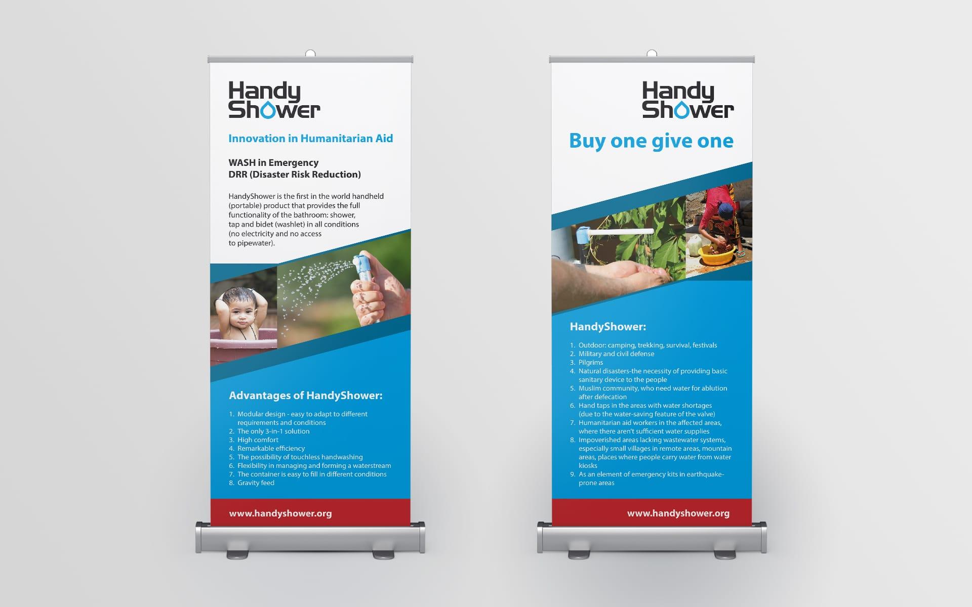 HandyShower logo firmowe rollupy reklamowe tagowe identyfikacja wizualna Agencja brandingowa Moweli Creative