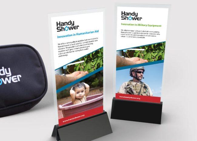 Projektowanie logo firmy Handy Shower identyfikacja wizualna projektowanie logo firmowych znaków firmowych księgi znaku rewitalizacje identyfikacja wizualna rebranding logo identyfikacje wizualne strony internetowe Agencja brandingowa Moweli Creative