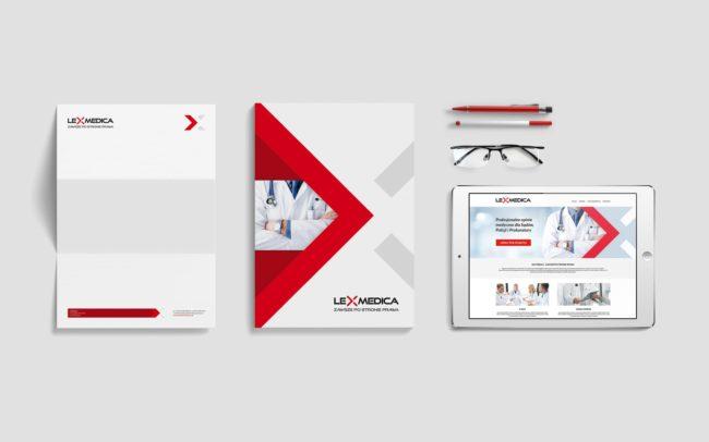 Lex Medica identyfikacja wizualna ulotki informacyjne papiery firmowe akcydensy projektowanie logo firmy nowoczesne responsywne strony internetowe Agencja brandingowa Moweli Creative
