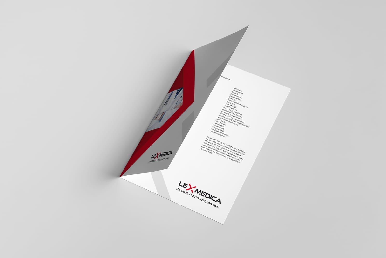 Lexmedica identyfikacja wizualna ulotki informacyjne papiery firmowe akcydensy projektowanie logo firmy nowoczesne responsywne strony internetowe Agencja brandingowa Moweli Creative