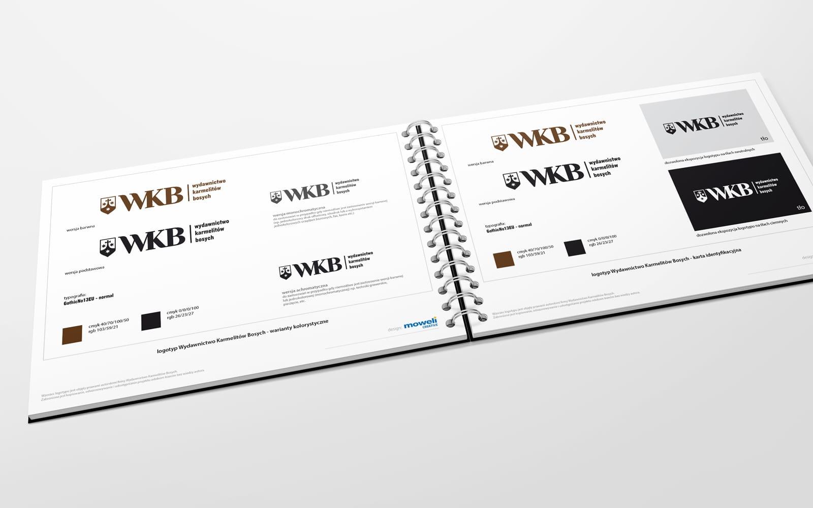 WKB Wydawnictwo Karmelitow Bosych rebranding logo firmowego projekty logo firmy rewitalizacja identyfikacje wizualne księgi znaku branding Agencja brandingowa Moweli Creative Dąbrowa Górnicza Warszawa