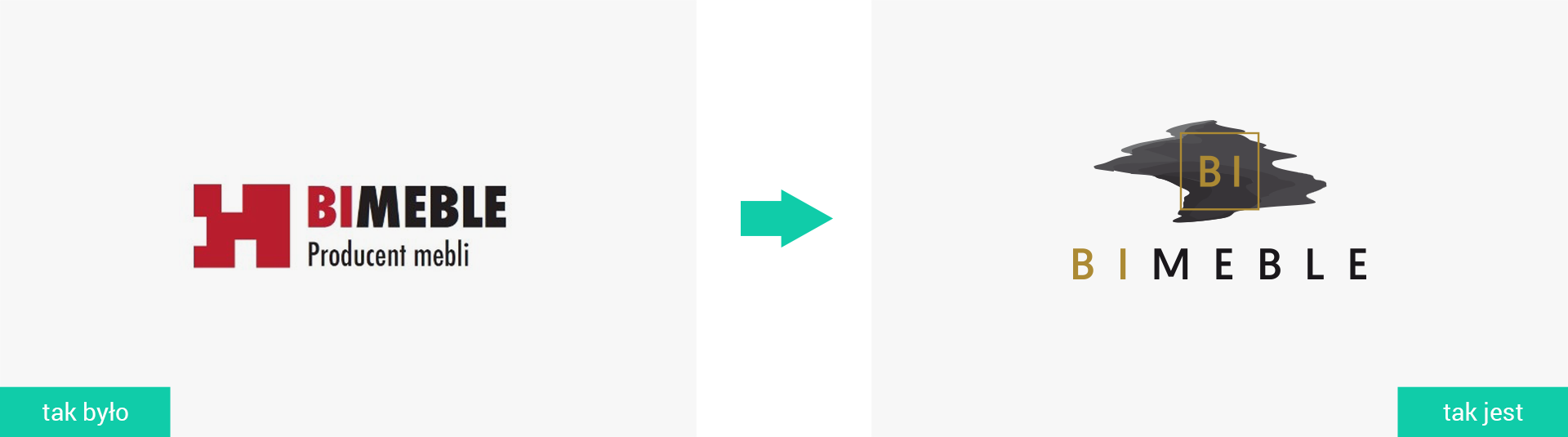 BI Meble Rewitalizacja logo firmowego Projektowanie logo firmy księga znaku rebranding unowocześnienie logo firmy Agencja brandingowa Moweli Creative Dąbrowa Górnicza Kraków Warszawa