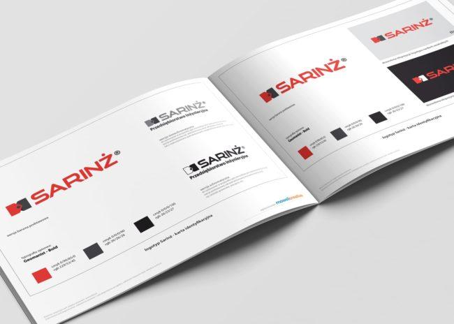 Projektowanie księgi znaku identyfikacji wizualnej dla firmy Sarinż Agencja Brandingowa Moweli Creative Reklamowa Dąbrowa Górnicza Warszawa Kraków Wrocław Gdańsk Poznań