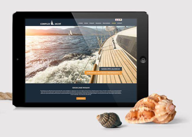 Projektowanie strony internetowej dla firmy Complex Jacht Agencja brandingowa Moweli Creative Warszawa Kraków Wrocław Poznań