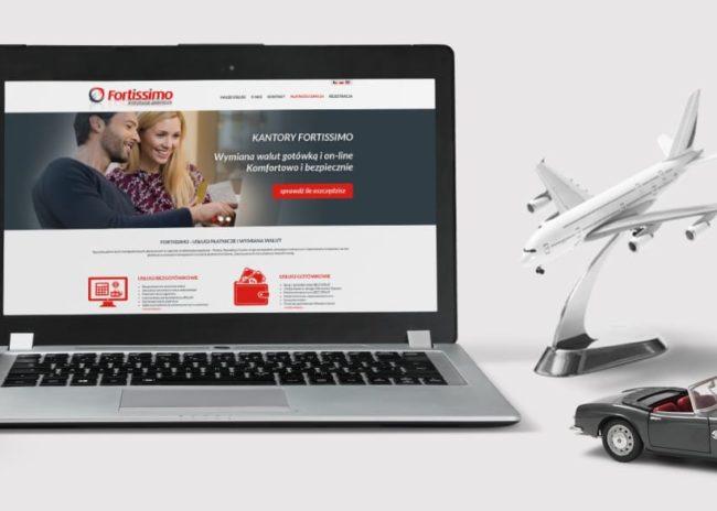 Projektowanie strony internetowej dla firmy Fortissimo kantory wymiany walut Agencja brandingowa Moweli Creative, Dąbrowa Górnicza, Sosnowiec, Katowice, Warszawa, Wrocław, Kraków, Gdańsk