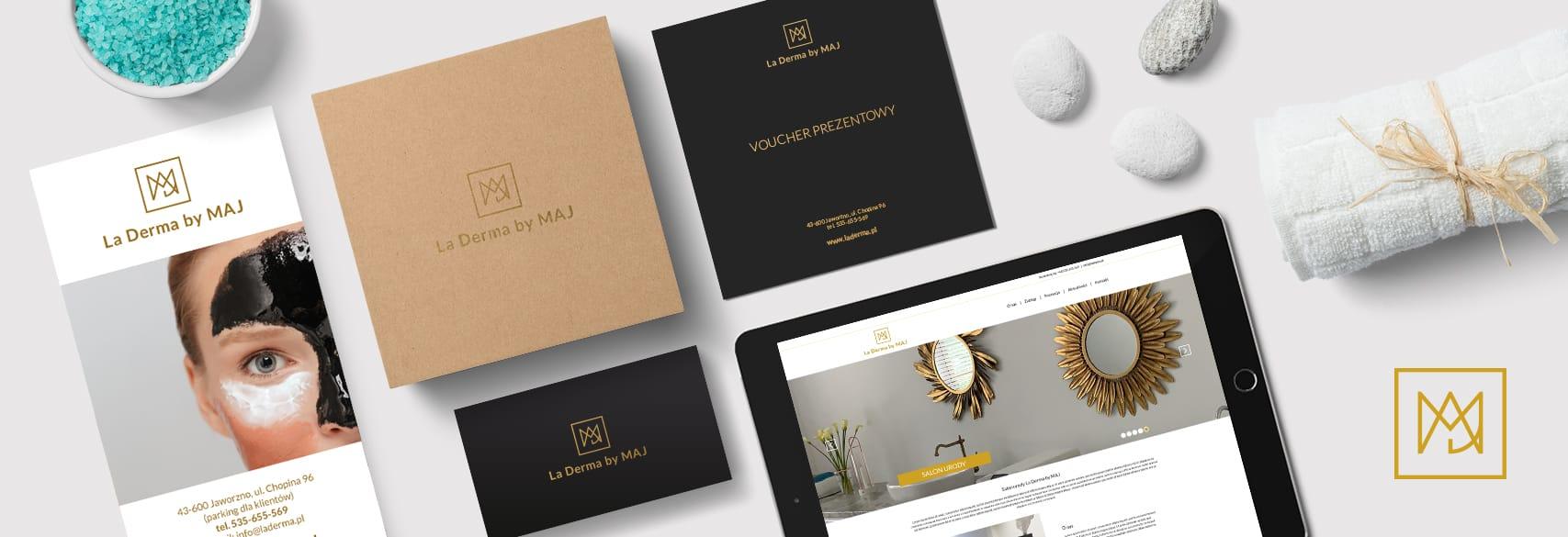 Projektowanie identyfikacji wizualnej dla salonu urody La Derma by MAJ tworzenie logo Agencja brandingowa Moweli Creative Dąbrowa Górnicza Wrocław Kraków Poznań Warszawa