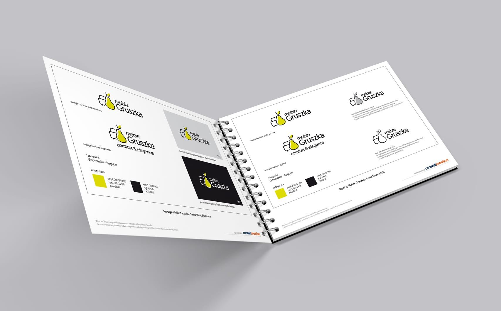Projektowanie identyfikacji wizualnej dla fabryki mebli Gruszka księi znaku rebranding logo akcydensy firmowe Agencja brandingowa Moweli Creative Warszawa Kraków Wrocław