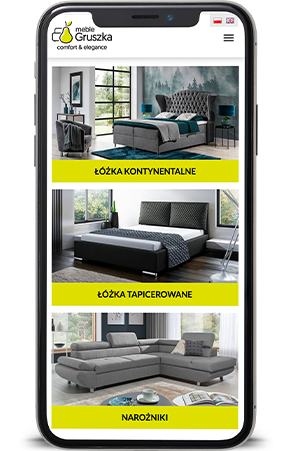 Meble Gruszka mobilna strona internetowa Agencja-brandingowa Moweli Creative